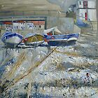 Three Boats in the Beck, Staithes by Sue Nichol