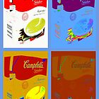4 campbell's soup boxes by paul edmondson