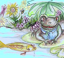 Frog on a lilly by catherine6401