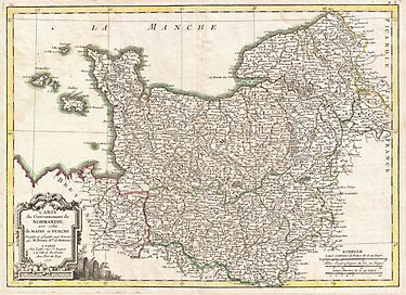 Vintage Map of Normandy France (1771) by alleycatshirts