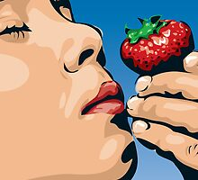 Boy Smelling Strawberry by Doug Wells