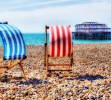 Deckchairs - Brighton Beach - Orton  by Colin J Williams Photography