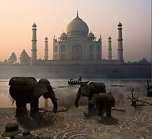 Iron Elephants Overlooking Taj mahal by Brenda Michalski