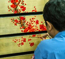 Vietnamese Lacquer Painter by mlphoto