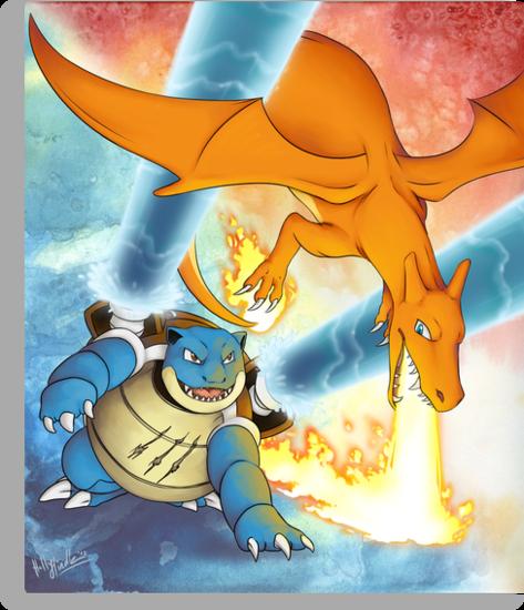 Charizard vs Blastoise by CunningFox