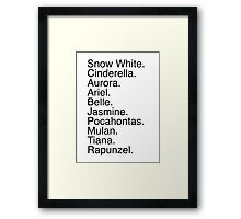 Disney Princess Names Framed Print