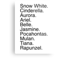 Disney Princess Names Metal Print
