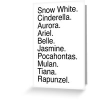 Disney Princess Names Greeting Card