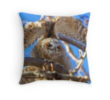 Big Stretch - Great Horned Owlet Throw Pillow