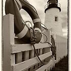 Pemaquid Point Light,Lighthouse and Life Preserver by KellyHeaton
