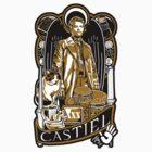 Castiel Nouveau Sticker by Tracey Gurney