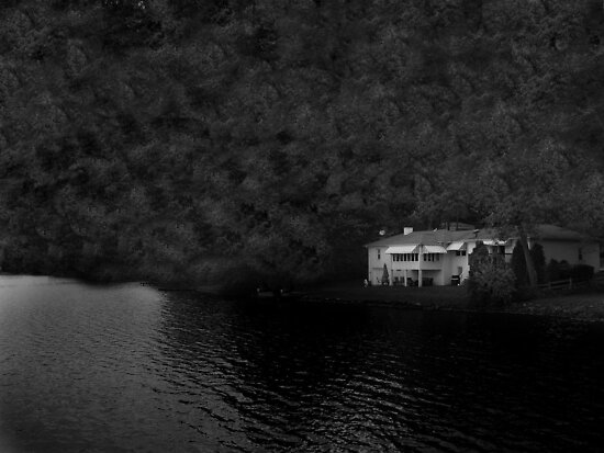 Packanack Lake Mansion in Black and White (Please view Full Size) by Jane Neill-Hancock