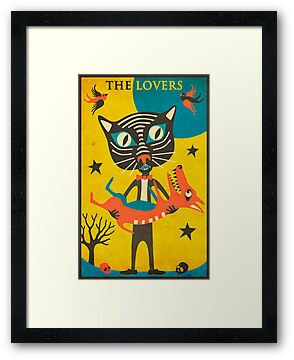 Tarot Card Cat: The Lovers by JazzberryBlue