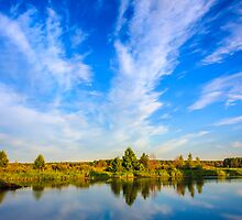 Clouds Reflection On Lake River by GrishkaBruev