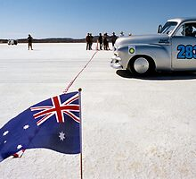1954 FJ Holden on the salt by Frank Kletschkus