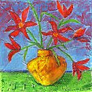 red flowers in yellow vase by Elena Bogdanovych
