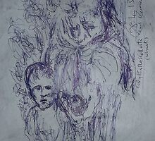 Kollwitz copy/Hunger(1 of 4) -(280413)- A4 sketchbook white/blue biro pen by paulramnora
