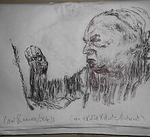 Kollwitz copy/Self-portrait II (4 of 4) -(280413)- A4 sketchbook white/blue biro pen by paulramnora