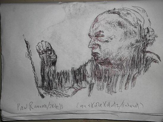 Kollwitz copy/Self-portrait II (4 of 4) -(280413)- A4 sketchbook white/blue biro pen by paulramnora