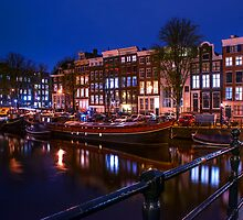 Night Lights on the Amsterdam Canals. Holland by JennyRainbow