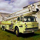 Vintage Yellow Firetruck by WildestArt