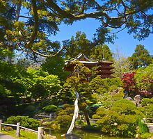 Pagoda in the Garden by Barbara  Brown