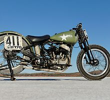 Harley-Davidson WLA on the salt by Frank Kletschkus