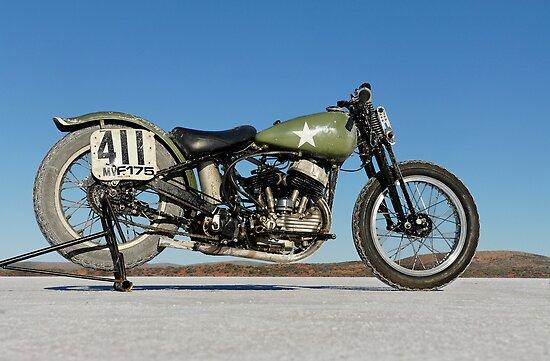 Harley-Davidson WLA on the salt by Frank Kletschkus