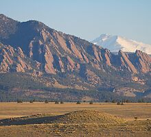 Colorado Rocky Mountains Flatirons With Snow Covered Twin Peaks by Bo Insogna