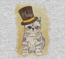 Funny Cute Kitten Cat Sketch Monocle and Top Hat Kids Clothes