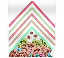 Modern Pink Teal Mint Green Chevron Floral Peonies Poster