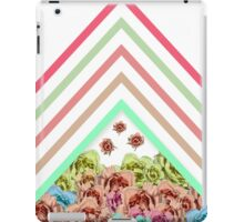 Modern Pink Teal Mint Green Chevron Floral Peonies iPad Case/Skin