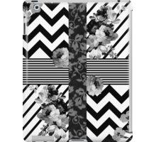 Trendy Black and White Floral Lace Stripes Chevron iPad Case/Skin