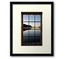 View through the window at the sunrise Framed Print