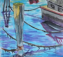 Watercolor Sketch - Sausalito Docks. 70 Issaquah Dock. 2013 by Igor Pozdnyakov