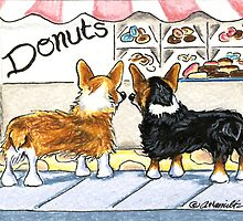 Corgis at the Donut Shop by offleashart