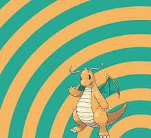 Pokemon - Dragonite Circle iPad Case by Aaron Campbell