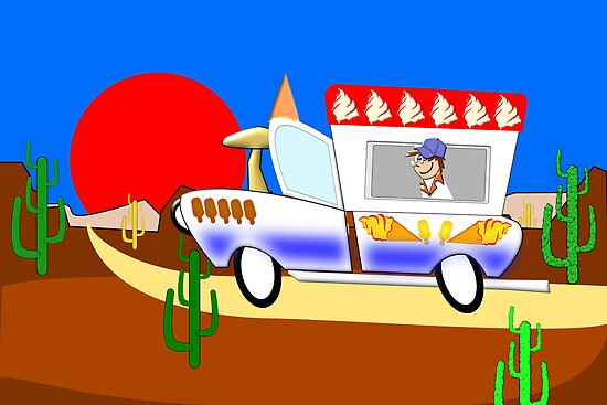 Ice-cream Toon Truck in the Desert by Dennis Melling