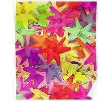 Bright Pink Yellow Psychedelic Summer Flowers Poster