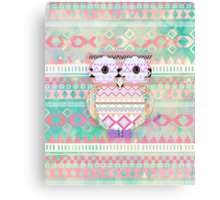 Whimsical Tribal Owl Pastel Girly Tie Dye Aztec Canvas Print