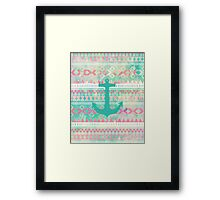 Emerald Nautical Anchor Pastel Watercolor Aztec Framed Print