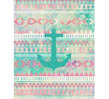 Emerald Nautical Anchor Pastel Watercolor Aztec Photographic Print