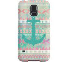 Emerald Nautical Anchor Pastel Watercolor Aztec Samsung Galaxy Case/Skin