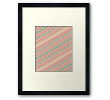 Retro Turquoise Pink Abstract Andes Aztec Pattern Framed Print