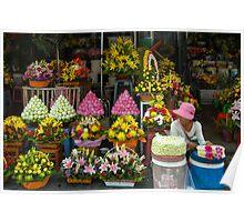 Cambodian Flower Seller Poster