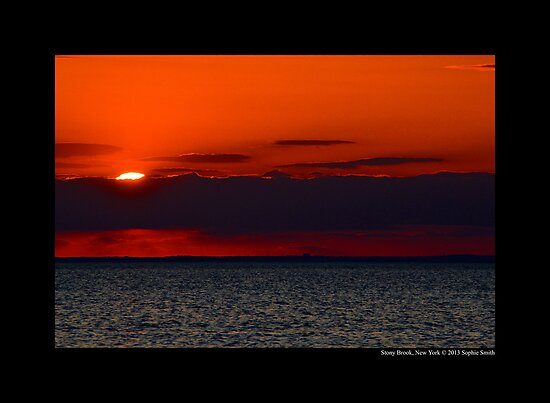 Evening Sun Hiding Behind Purple Cloud Above Long Island Sound - Stony Brook, New York by © Sophie W. Smith