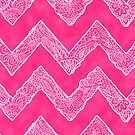 Trendy White Tribal Floral Paisley Chevron on Pink by GirlyTrend