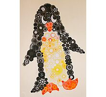 Spirograph Penguin in black, yellow and orange Photographic Print