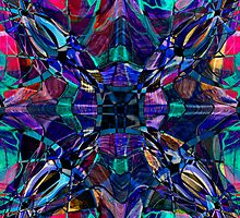 blue stained glass fractal pattern by printsbypixie