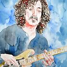 FRANK ZAPPA PLAYING the GUITAR watercolor portrait by lautir